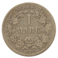 GERMANY - EMPIRE - 1 Mark - 1886 - F - Stuttgart - Silver - #DE097 - 1 Mark