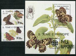 S.Tomé E Principe    Papillons     1062/1063 ** + Bloc 111 ** - Papillons