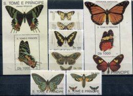 S.Tomé E Principe    Papillons      1094/1098 ** + Blocs 118/119 ** - Papillons