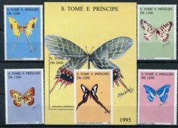 S.Tomé E Principe    Papillons    1231/1235  ** + Bloc  157 ** - Papillons