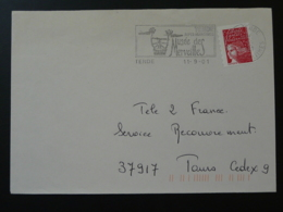 06 Alpes Maritimes Tende Peintures Rupestres Rupestral Paintings 2001 - Flamme Sur Lettre Postmark On Cover - Préhistoire