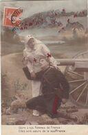 """MILITARIA. GUERRE 14-18 . CROIX ROUGE. SOLDAT """" GLOIRE A NOS SOEURS FRANCE """" SOEURS DE LA SOUFFRANCE. ANNEE 1915 +TEXTE - Weltkrieg 1914-18"""