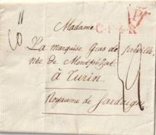 1824 - LAC De PARIS Pour TURIN DU NEVEU DE LA MARQUISE GRAS DE PREVILLE + Cachet De Rayon CF4R  En Rouge - 1801-1848: Vorläufer XIX
