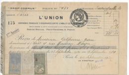 """Reçu De 118,50 Francs De La Compagnie D'assurance """"L'Union"""" à Paris De 1921 Sur Papier Timbré Avec 3 Fiscaux - Revenue Stamps"""