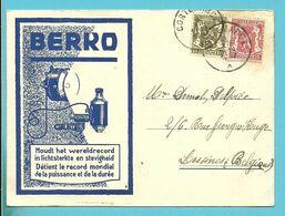 410+423 Op Geillustreerde Kaart BERKO (Lampes) Stempel CORTEMARCK - 1935-1949 Small Seal Of The State