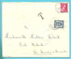 """528 Op Brief Stempel CORBION Naar """"Poste Restante LA LOUVIERE"""", Zegel 426 Als Strafportzegel Gebruikt - 1935-1949 Small Seal Of The State"""