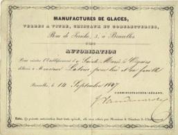Manufactures De Glaces, Cristaux... Bruxelles, Rue De Jéricho. Autorisation De Visite En 1847. - Tickets D'entrée