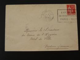 21 Cote D'Or Dijon Exposition Universelle Paris 1937 - Flamme Sur Lettre Postmark On Cover - Weltausstellung