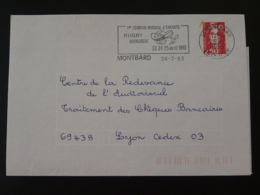 21 Cote D'Or Montbard Tournoi Rugby 1993 (ex 2) - Flamme Sur Lettre Postmark On Cover - Rugby
