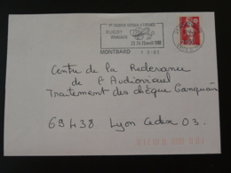 21 Cote D'Or Montbard Tournoi Rugby 1993 (ex 4) - Flamme Sur Lettre Postmark On Cover - Rugby