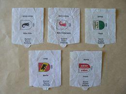 Déstockage SUISSE, Armoiries, 5 Papiers De Sucre Différents, TB. - Sucres