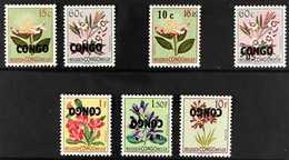 """1960 OVERPRINT VARIETIES.  1960 Flowers With """"CONGO"""" Overprints, Includes 15c & 60c Missing Surcharges, 10c On 15c Missi - Congo Belge"""
