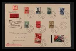 LITHUANIA  VILNIUS 1941 Overprints, Complete Set, Michel 10/18, SG 10/18, Used On Registered Cover, Additionally Sent Ex - Allemagne
