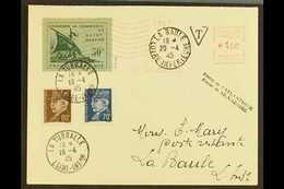 SAINT NAZAIRE  1945 (19 Apr) Cover Addressed To La Baule, Bearing St Nazaire 50c Green On Green Local Stamp (Michel 1),  - Allemagne
