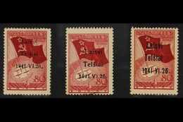 TELSIAI (TELSCHEN)  1941 80k Dark Brownish- Red With Type I, II & III Overprints, Michel 8I/8III, Used, The Types I & II - Allemagne