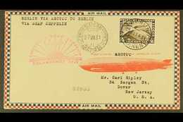 1931  GRAF ZEPPELIN POLAR FLIGHT, Superb Airmail Cover Franked Germany 1931 4Rm Polar Flight Adhesive Tied By Berlin Cds - Allemagne