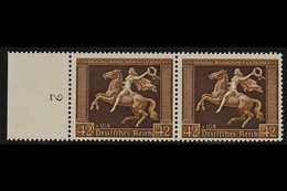 1938  42pf Brown Ribbon (Michel 671y, SG 659), Left Marginal HORIZONTAL PAIR, Very Fine Never Hinged Mint. For More Imag - Allemagne