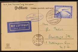 """ZEPPELIN AMERICAN FLIGHT CARD  1928 (7 Oct) Postcard Bearing 1928 2m Air Stamp Tied By """"Friedrichshafen"""" Cancel, With Bl - Allemagne"""