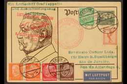 ZEPPELIN EIGHTH SOUTH AMERICAN FLIGHT CARD  1932 (9 Oct) 6pf Postal Stationery Postcard Addressed To Brazil, Uprated Wit - Allemagne