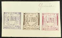 "ORIGINAL ARTWORK  1861 Hand-painted, Stamp Sized Essays Produced In France, Inscribed ""GUINEA"" In A Crown & Laurel Desig - Guinée (1958-...)"