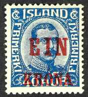 1921-30  1k On 40k Blue Surcharge (Michel 121, SG 146), Fine Mint, Fresh. For More Images, Please Visit Http://www.sanda - Iceland