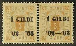 "OFFICIAL  1902 3a Orange-ochre Perf 14x13½ ""I GILDI"" Overprint, SG O88, Facit Tj 15b, Michel 10a, Mint Horizontal PAIR ( - Iceland"