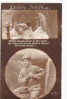 """MILITARIA. GUERRE 14-18. SOLDAT DANS LA TRANCHEE """" DIVIN REVE """" +TEXTE - Weltkrieg 1914-18"""