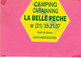 AUTOCOLLANT STICKER.  HAMES  BOUCRES.  CAMPING  LA BELLE PECHE - Autocollants