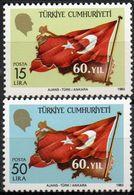 Turkey 1983 Republic 60 Year 2 Values Mi 2657-58 MNH 2008.0861 Flag - Infancia & Juventud