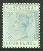 "1884-85  4d Blue ""CA"", SG 11, Unused Regummed. Fresh & Attractive, Cat £1800. For More Images, Please Visit Http://www.s - Montserrat"