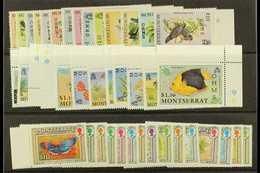 "OFFICIALS  1985, 1992 & 1993 ""OHMS"" Overprints Complete Sets, SG O62/75, O94/105 & O106/20, Never Hinged Mint, Fresh. (4 - Montserrat"