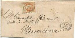ISABEL II ENVUELTA DE HARO LA RIOJA A BARCELONA 1864 - Storia Postale