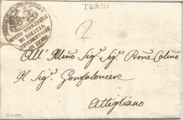 ITALY PRE PHILATELIC LETTER  1817 FROM POLICE TERNI A ATTEGLIANO POLICIA POLIZIA - Police - Gendarmerie