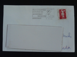 07 Ardèche Annonay Raid Aerostatique Annonay Moscou 1994 - Flamme Sur Lettre Postmark On Cover - Airships