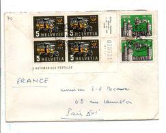 SUISSE AFFRANCHISSEMENT COMPOSE SUR LETTRE DE VEVEY POUR LA FRANCE 1956 - Storia Postale