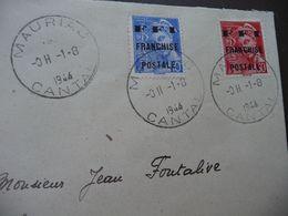 Lettre France  2 Timbres LIBERATION De MAURIAC Mercure SURCHARGE FFI Franchise Postale 1944 - Marcophilie (Lettres)