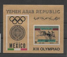 Yemen Bloc Non Dentelé Imperf ND JO 68 ** - Zomer 1968: Mexico-City