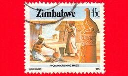 ZIMBABWE - Usato - 1985 - Cultura, Tecnologia Ed Economia - Donna Cucina Del Mais - 45 - Zimbabwe (1980-...)
