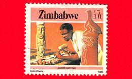ZIMBABWE - Usato - 1985 - Cultura, Tecnologia Ed Economia - Scultura In Legno - Wood Carving - 57 - Zimbabwe (1980-...)
