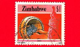 ZIMBABWE - Usato - 1985 - Cultura, Tecnologia Ed Economia - Strumenti Musicali - Mbira - $ 1 - Zimbabwe (1980-...)