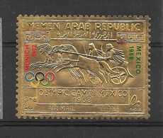 Yemen Timbre Or Gold Surchargé Ovpt JO 68 ** - Zomer 1968: Mexico-City