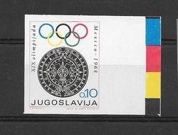 Yougoslavie Yugoslavia Timbre Non Dentelé Imperf ND RARE JO 68 ** - Zomer 1968: Mexico-City