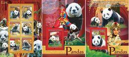 Guinea 2008, Animals, Panda, 6val In BF +2BF - Guinée (1958-...)
