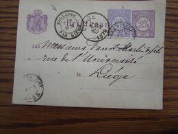 Pays-Bas: Entier Postal Affranchi à 5C Oblitéré MAASTRICHT Pour Liège En 1879. Cachet De PASSAGE: HOLLANDE PAR LIEGE - Period 1852-1890 (Willem III)