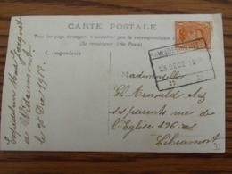 1918-19: N° 135 Sur Carte Fantaisie (goeden Dag Van Wideumont) Oblitérée De FORTUNE (CACHET RECTANGULAIRE) De WIDEUMONT - Fortune Cancels (1919)