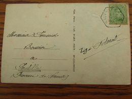 1918-19: N° 137 Sur Carte Fantaisie (gloire à La Belgique!) Oblitérée De FORTUNE (CACHET FERROVIERE) De WAUTHIER-BRAINE - Fortune Cancels (1919)