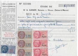 Reçu De Monsieur Jacquot En 1960, 1750 NF Avec 7 Fiscaux Dont 3 X 135 Frs Orange - Revenue Stamps