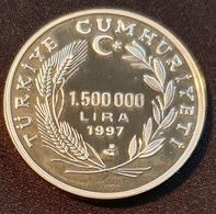 "Turkey 1.500.000 Lira 1997 (PROOF-SILVER) ""Myra'li Aziz Noel Baba And Euro"" - Turkey"