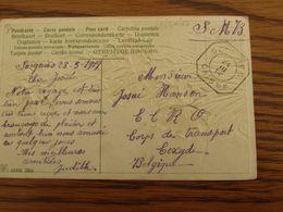"""1918-19: Carte Fantaisie En S.M.B.oblitérée De FORTUNE (CACHET """"CAISSE"""") De SOIGNIES En 1919 - Fortune Cancels (1919)"""