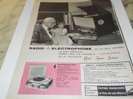 ANCIENNE PUBLICITE RADIO ELECTROPHONE  PATHE MARCONI 1954 - Radio & TSF